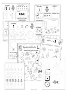 Number 1 Worksheets in Romanian by Ema La Scoala Superhero Alphabet, Teaching Numbers, Kids Calendar, Worksheets, Countertops, Baby Calendar