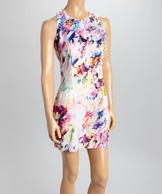 Love this Pink & Blue Floral Sleeveless Dress by May & July on #zulily! #zulilyfinds