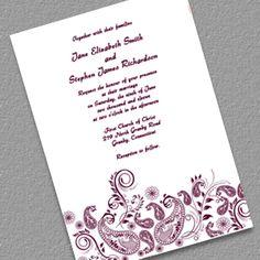 Violet Paisley Wedding Invitation in 4x6