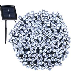 Cold White Outdoor Solar Powered String Lights Christmas Lights Decoration 200 LED 72ft22m Long Rope Lights Waterproof Lighting for Patio Lawn Fairy Garden Home Wedding Party Xmas Tree By JS *** Be sure to check out this awesome product.