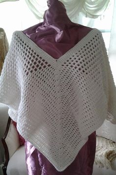 White Hand Crochet Pull Over Shawl by KlsCrochetCouture on Etsy