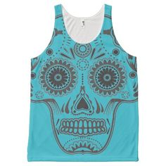 Turquoise and Black Sugar Skull All Over Tank Top All Over Print Tank Top