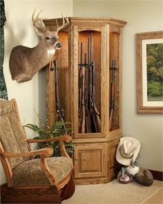 Amish Gun Cabinets | Old Buchanan Solid Wood Corner Gun Cabinet - product summary - Bing Shopping
