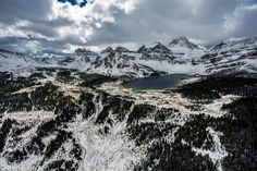 Aerial View of Mount Assiniboine Provincial park after the 1st snow fall of the season by Bow Valley Photography.