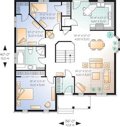 Example blueprint created with smartdraw plans rustic style traditional house plan 64997 level one malvernweather Choice Image