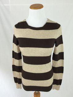 J. CREW brown cashmere blend striped crewneck sweater Women's S #JCrew #Crewneck