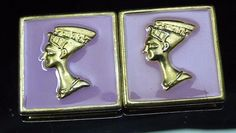 Vintage Egyptian Queen Nefertiti Enamel Pierced Earrings Purple Lavender Gold  #Unbranded #Pierced