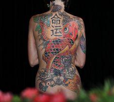 Woman Japanese Back Tattoo