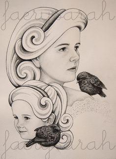 FaerySarah: NZ Birds Sketch Series - Mother and Daughter with Toutouwai Companions #FaerySarah #nzbirdseries #newzealand #birds #robin #sketch #drawing #toutouwai #mother #daughter