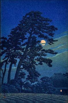 Hasui Kawase, Moon at Megome (1930). Woodblock print.