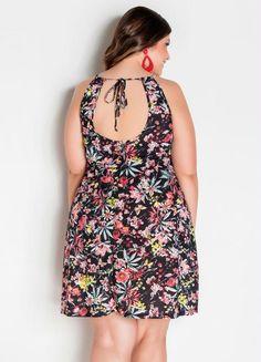 Vestido Trapézio Plus Size Floral - Marguerite Floral, Gota, Casual, Dresses, Products, Fashion, Plus Size Girls, Big Sizes, Mesh