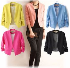 Woman three quarter sleeve candy color suits office lady blazer fashion suits lady coats ruffled sleeve outwear