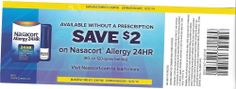 10 Coupons Save $2 Nasacort Allergy 24 HR 12/31/2014
