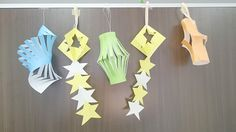 Set Of The Star Festival, Tanabata Paper Decorations. Star Festival, Tanabata, Paper Decorations, Lanterns, Kids Fashion, Stars, Party, Nursing, Trees