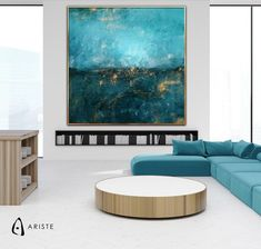 This minimalist oversized wall art will beautifully complement an interior with teal and gold decor elements. Horizontal composition and size make it perfect addition for a living room, bedroom, or dining room. This item is fully handmade, painted with acrylic paints on canvas, varnished, signed and