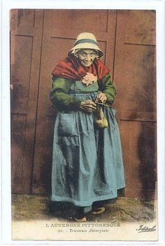 Auvergne Province Woman Knitting