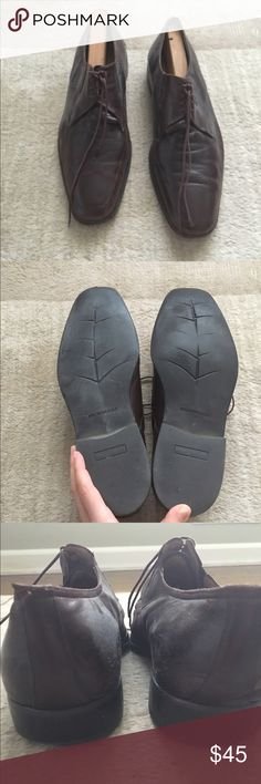 Bruno Magli Dress Shoe Brown lace up dress shoe. Previously worn with wear as shown, can easily be fixed by a shoe maker. Very comfortable. Open to reasonable offers through feature. No Trades. Bruno Magli Shoes Loafers & Slip-Ons