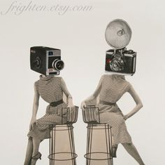 Print of Paper Collage, Take a Picture, Surreal Retro Black and White Camera Art Print of two Women with Camera Heads, frighten by frighten on Etsy https://www.etsy.com/listing/101814045/print-of-paper-collage-take-a-picture