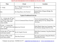 VIETNAM TOURISM EVENT SCHEDULE IN JULY 2018