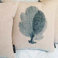 Graceful Coral Pattern Decorative Pillow With Insert – USD $ 31.99
