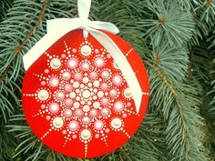Ready to ship! Mandala snowflake, Christmas tree ornament, 3.75 round wooden disc, hand painted wood, Holiday Decorations, white pink azalea pink silver dot art on red, gift exchange ideas, ooak 3D neon glow, fade proof, weatherproof. Beautiful mandala dot art snowflake hand painted with