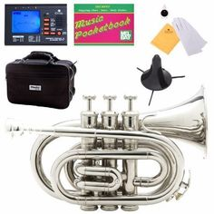 Mendini Mpt-N Nickel Plated Bb Pocket Trumpet, 2015 Amazon Top Rated Trumpets #MusicalInstruments