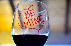 Personalizing Wine Glasses with Sharpie Markers, Menu and Party Games for Small Valentine's Day party | ReluctantEntertainer.com
