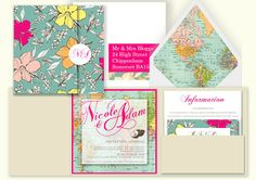 Bespoke Tropical Travel Themed Wedding Stationery from http://knotsandkisses.co.uk