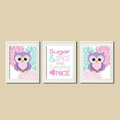 OWL NURSERY Decor Artwork Violet Aqua Floral Sugar & Spice QUOTE Set of 3 Prints Baby Girl Owl Nursery Bedding Art Decor Wall Art Picture