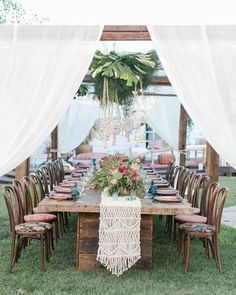 Small Dinner Tent | Martha Stewart Weddings - For their intimate vow renewal, this couple set up a tented dinner area in their backyard, featuring a linen canopy, monstera leaves, and hanging candles.
