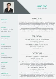 One Page Flat cv template from cvzilla.com Enjoy creating your awesome resume!