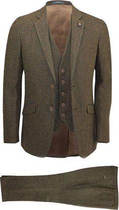"""Cavani Mens Brown 3 Piece Wool Blend Herringbone Tweed Suit Vintage Smart Formal Slim Fit [Brown,Chest UK 42 EU 52,Trouser 36""""]"""
