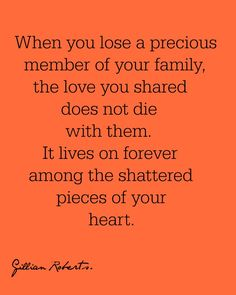 When you lose a precious member of your family, the love you shared does not die with them. It lives on forever among the shattered pieces of your heart.