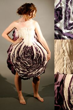 Alyssa McNamara from ROOTED | Spring 2009,  My line emphasizes the natural world. All fabric used is either 100% silk or cotton, and hand dyed with various techniques to epitomize the part of nature that each individual piece based on...cabbage.