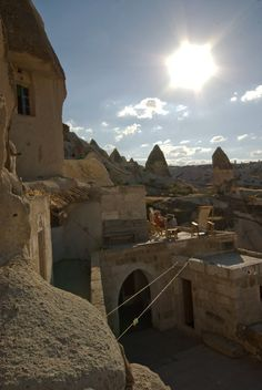 Fairy Chimney Inn- Cave B&B in the heart of Cappadocia.  Big parts of it are carved out of  tufa rock cones, also known as 'fairy chimneys'.