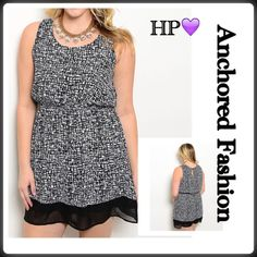 ➕HP💜5/25💜Black and White Geo Dress Gorgeous black and white tank dress with geometric pattern and sheer trimmed hem. 100% Polyester. Dresses Midi