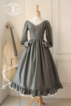 Elegant Vintage College School Style Classic Lolita Long OP Dress