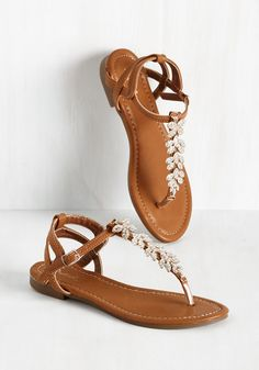 Leaf of Absence Sandal. From the moment you don these glistening thong sandals, youll feel the the local park pulling you near! #tan #modcloth