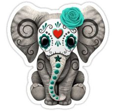 'Red Day of the Dead Sugar Skull Baby Elephant' Art Print by jeff bartels Girly Tattoos, Body Art Tattoos, New Tattoos, Tatoos, Sugar Skull Face, Sugar Skull Tattoos, Sugar Skulls, Red Day, Pink Day