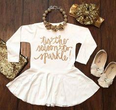 Tis the Season to Sparkle white long sleeve Christmas dress