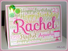 Personalized Wordcloud Birthday Card by WordsFromCloudNine on Etsy, Word Clouds, Handmade Cards, Handmade Gifts, Birthday Cards, Happy Birthday, Card Ideas, Fonts, Paper Crafts, Names