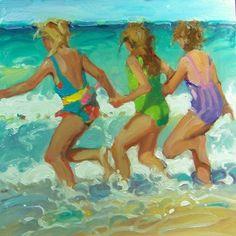 """Three Graces"" Kim Roberti's 8x8 oil/gessobord contemporary realism figure children on beach., painting by artist Kim Roberti"