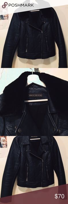 Faux Leather Jacket Leather jacket from Urban Outfitters with detachable faux fur collar. Only worn a few times, no signs of use. Members Only Jackets & Coats