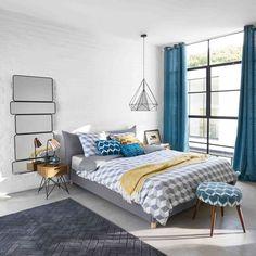 Letto grigio in lino e cotone con rete a doghe 140 x 190   Maisons du Monde