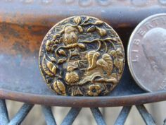 Victorian metal picture button 2 Birds on Branch. Sold for $2.25