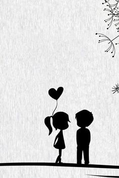Black Cartoon Wallpaper Source by Love Cartoon Couple, Cute Couple Art, Cute Couples, Painting Love Couple, Iphone 5s Wallpaper, Cellphone Wallpaper, Iphone 4s, Wallpaper Art, Heart Wallpaper