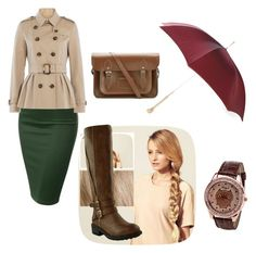 """""""umbrella"""" by yesica-cruz on Polyvore featuring J.TOMSON, Burberry, Hershesons, The Cambridge Satchel Company and Alexander McQueen"""
