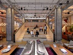 Rockwell Group has transformed a historic building for NeueHouse, a modern co-working space, with lush interiors inspired by hotel lobbies. Interior Design Magazine, Office Interior Design, Office Interiors, Home Interior, Office Designs, Industrial Bedroom, Industrial Office, Industrial Interiors, Industrial Closet