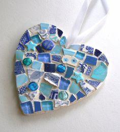 Blue China Mosaic Heart  Pique Assiette Christmas by PamelasPieces, $25.00