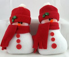 Christmas Decoration Flurrie Frizzle Handmade Stuffed Snowman Ornaments in Red Fleece Set of 2. In a set of 2 these handmade ornaments are the perfect decoration for the winter and Christmas holiday season. Made from Blizzard Fleece and stuffed with the best fiberfill to make them soft and plush, they are approximately 6 inches tall and approximately 2 1/2 inches wide at the base. They were originally created to be bowl fillers or tuckin's but I also added a hanging cord. Perfect in a…